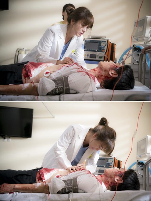 《太陽的後裔》劇照宋仲基中槍昏倒 宋慧喬奮力搶救