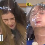 女团Red Velvet成员Irene、Joy在《Running Man》不计形象用脸冲破保鲜膜!