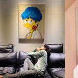 太有心啦!BTS防弹少年团V公开粉丝画作「蓝发辛普森」认证照片