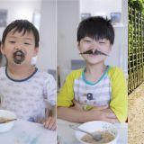 淘气宋家三胞胎吃早饭也要摆造型 秒变「大叔」