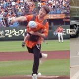 FT Island崔敏煥背著兒子開球,投球的瞬間贊兒的頭被甩了一大下!引發網友指責:「真的太危險了!」