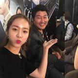 《密探》试映会后 韩志旼与宋康昊、孔侑逗趣合照