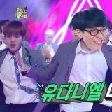 《无限挑战》刘在锡大跳选秀节目的主题曲《我啊我》现场超high:「我就是WANNA ONE的中心啊~!」
