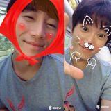 池晟化身小猫咪红帽 与伙伴蔡贞安和郑满植合照