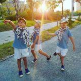 三胞胎長大了!初秋潮男出街