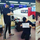 剛一起從日本旅遊回來…EXO燦烈、崔泰俊又相約打保齡球啦!