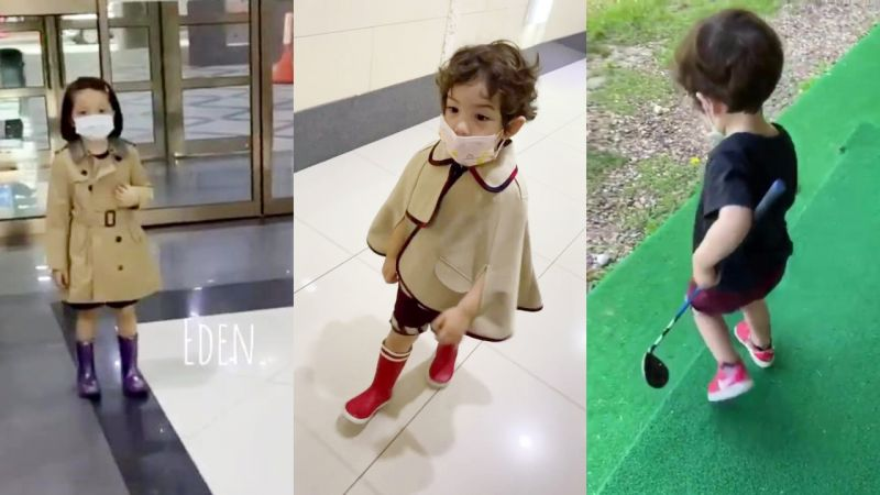 娜恩&建厚小小年紀開始學高爾夫球啦!小公主和小王子降臨~
