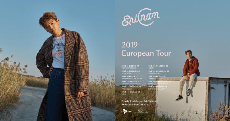 Eric Nam 從亞洲、澳洲一路前進歐洲!首次個人巡演開出 11 場