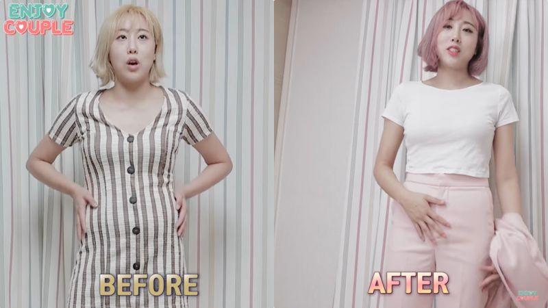 太勵志了!Enjoycouple的拉拉一個月瘦了8kg之後,同一件衣服穿搭對比超明顯