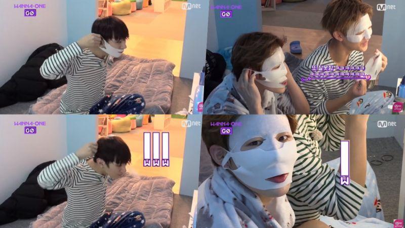 Wanna One團綜之掛耳式面膜到底怎麼用!尹智聖、河成雲相繼撲街,還撞臉國際知名影星XDD