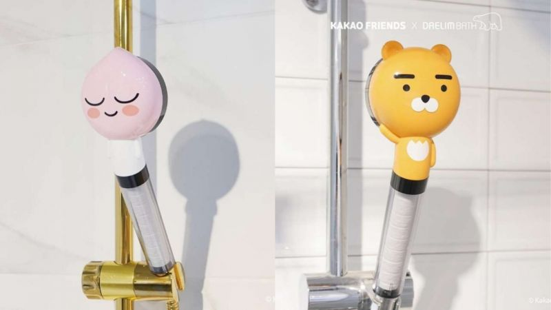 洗澡时...有超可爱的Ryan和Apeach作伴♥Kakao Friends和卫浴品牌联名,推出莲蓬头!