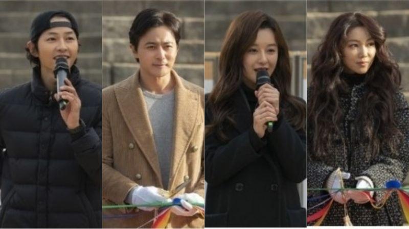 tvN新剧《阿斯达编年史》公开开机仪式现场图!主演宋仲基、金智媛、张东健、金玉彬终於同框