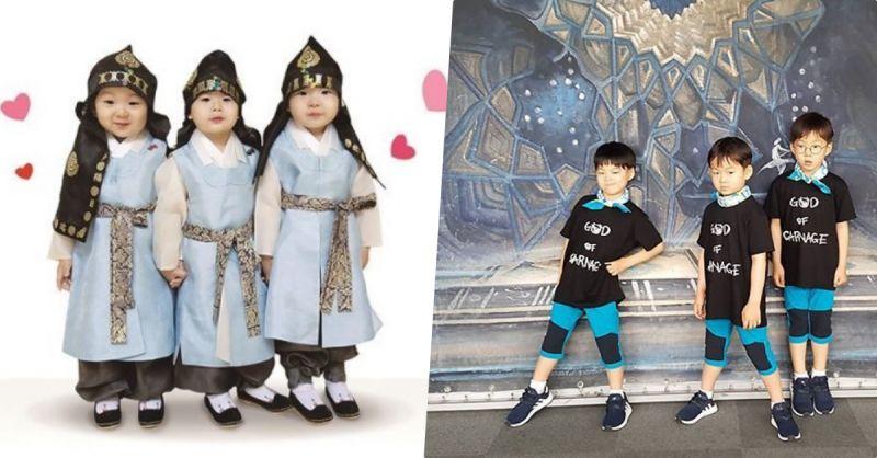 大韩民国万岁三兄弟最新照 褪去了婴儿肥的小小少年们