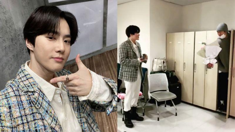 团魂满满!EXO成员到《人歌》为SUHO应援,185公分的灿烈...还拿著花束躲在衣柜给他惊喜!
