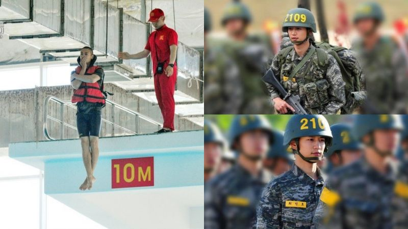 這個是電影劇照吧!SHINee珉豪海軍陸戰隊訓練照公開,10米跳水動作超標準!