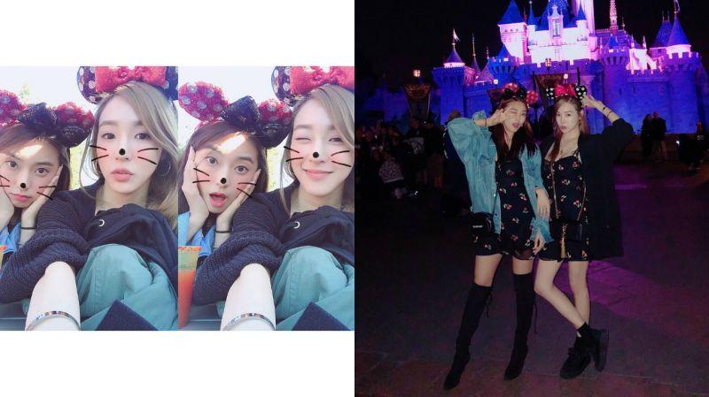 友情萬歲!Tiffany、寶拉穿著「情侶服」同遊迪士尼樂園