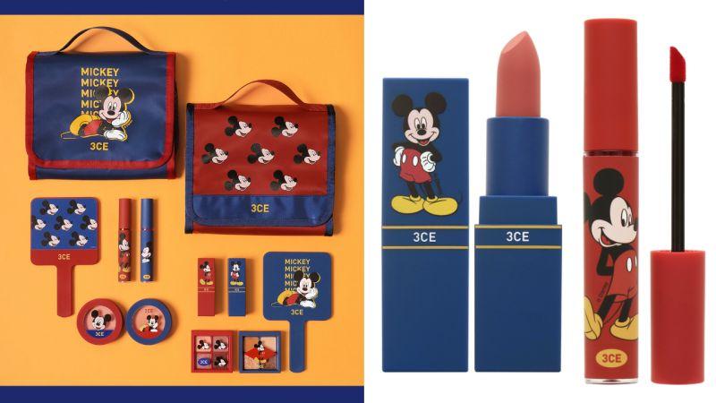 韩国3CE×Disney联名彩妆系列发售,红蓝色+米奇老鼠诱人入手!