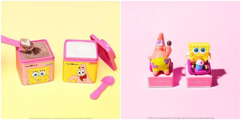 《baskin robbins x 海綿寶寶》冰淇淋盒子好可愛,吃完還有印章可以收藏喔