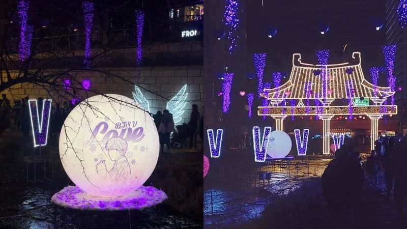 这夜景实在太美啦!粉丝为BTS防弹少年团V金泰亨的绝美生日应援:「我紫爱你」