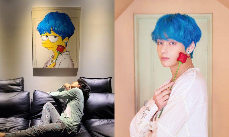 太有心啦!BTS防彈少年團V公開粉絲畫作「藍髮辛普森」認證照片