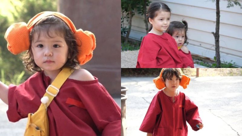太可愛♥《超人回來了》穿了同尺寸汗蒸服的「三姊弟」娜恩、建厚、振瑀,弟弟還露了香肩~