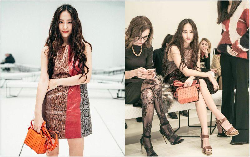 f(x) Krystal出席「米兰时装周」:迷你裙+长卷发 展现优雅魅力