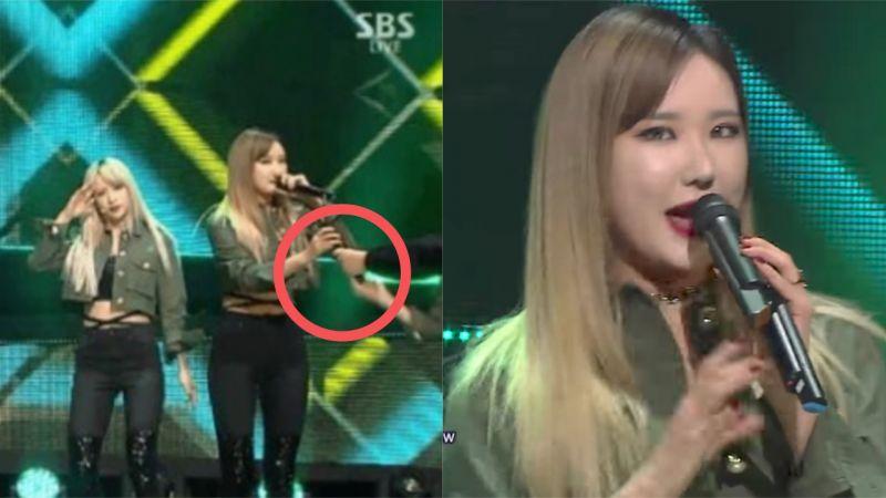EXID《人歌》舞台麦克风故障消音!LE展现实力,拿两支麦克风继续完成表演!