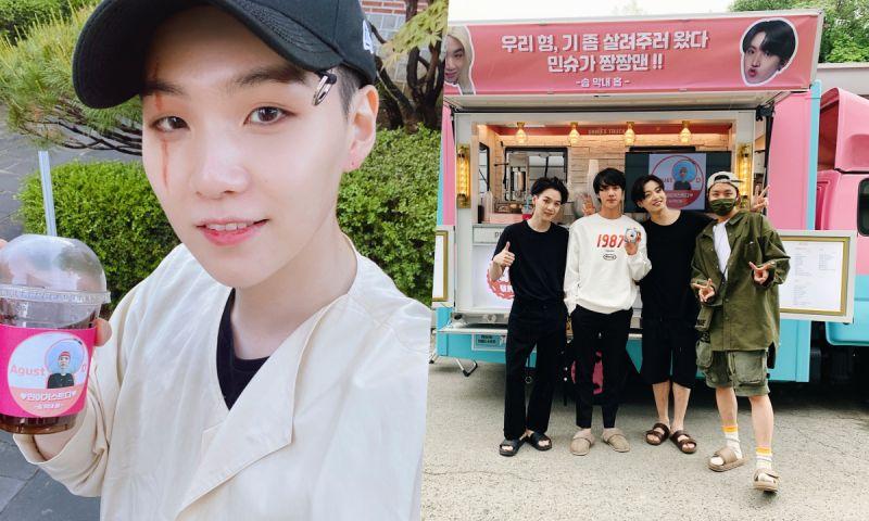 BTS防彈少年團J-Hope給SUGA的MV拍攝送去咖啡車~