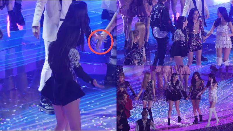 《SBS歌謠大戰》謝幕時,BLACKPINK Jisoo看到宣美一個人,主動去牽她的手一起走!