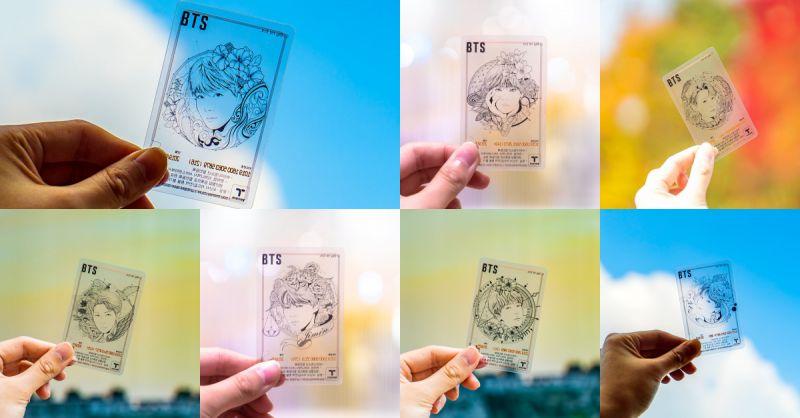 防彈少年團BTS透明手繪版T-Money交通卡今日發售  實物照片公開!