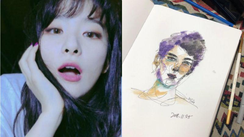 自學成才!萬萬沒想到Red Velvet澀琪畫畫這麼好看~