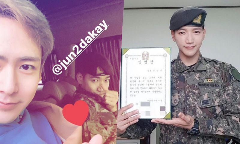 Jun.K今日退伍,Nichkhun到場迎接! 2PM繼玉澤演之後第二位完成兵役的成員