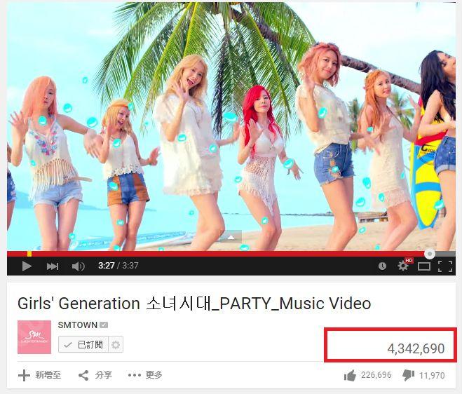 少女时代《PARTY》mv点击率突破4百万