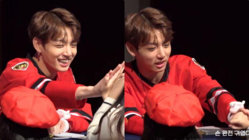 撩妹高手啊!BTS田柾国握手女粉丝好惊讶大赞:「你的手好可爱」