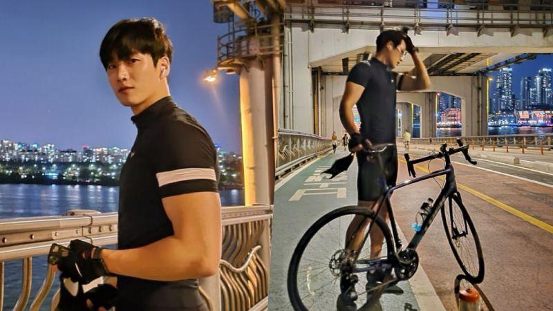 安普贤夜晚汉江边骑单车 壮硕手臂肌肉引瞩目!