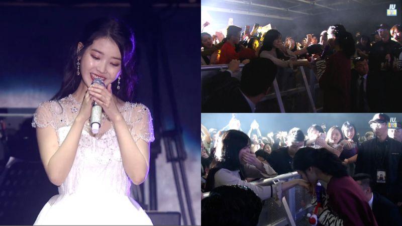 《IU TV》香港場花絮!被應援感動到的IU,親自下台找策劃的粉絲說謝謝還親吻她的手!