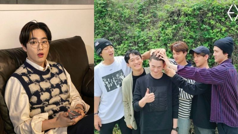 EXO队长Suho今日入伍!成员们的合照公开...弟弟们依旧是「摸头杀」送哥哥入伍!