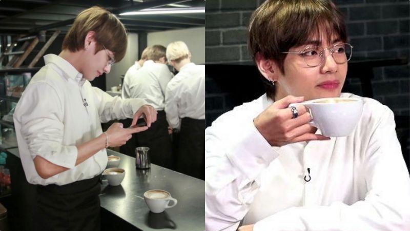 BTS防彈少年團V喝摩卡咖啡的奇葩方法!可能全球僅此一人XD
