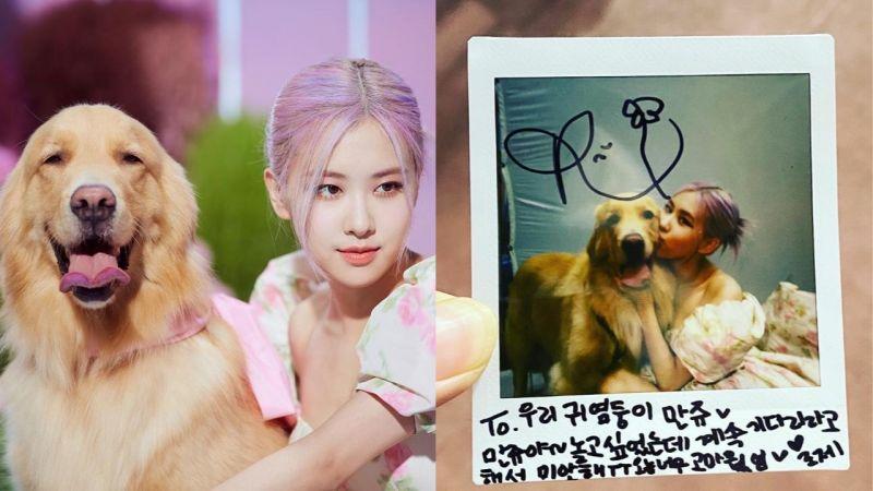 BLACKPINK ROSÉ給一起拍攝《Ice Cream》MV的狗狗拍立得信:「我們的小寶寶,今天很感謝你」