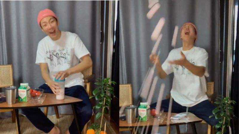 在直播中製作「草莓拿鐵」的WINNER李昇勳!聽著音樂跟著搖擺...下一秒秒悲劇,灑得整個都是 XD