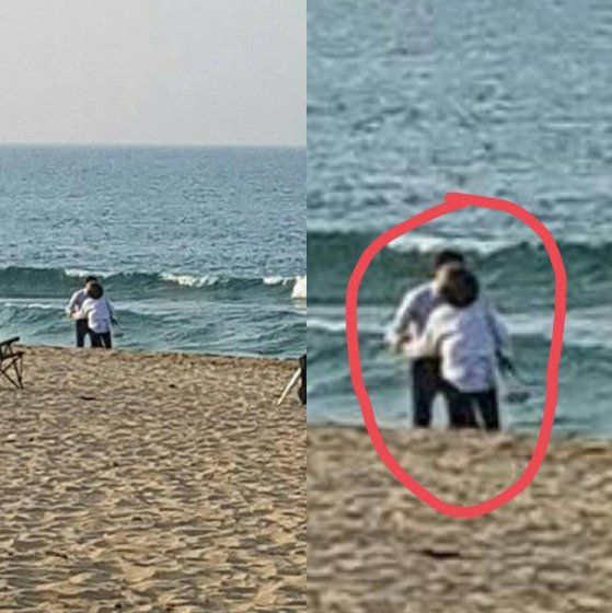 秀智與一神秘男密會海邊舉止不要太親密!?
