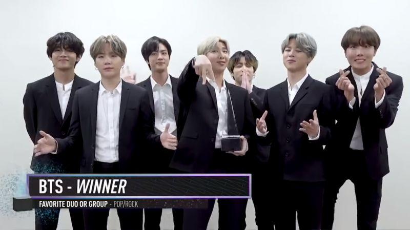 最新消息!BTS 防彈少年團在 AMAs 頒獎禮奪下「全美最受歡迎團體獎」