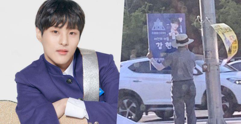 父爱感人! 《PRODUCE X 101》练习生姜贤秀的父亲在街头举牌为儿子宣传 - KSD 韩星网 -116930-737336