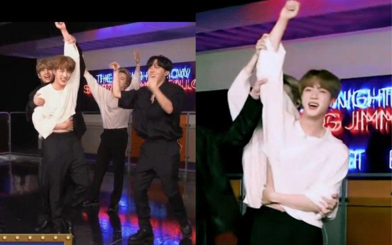 BTS防弹少年团Jin举手时...不小心露出腹肌又马上遮住!粉丝:「遮住的样子太可爱,给我看看腹肌吧」