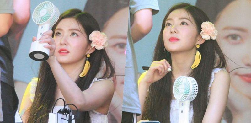 Red Velvet Irene担心粉丝太热 主动让出自己的迷你电风扇