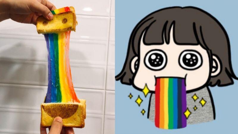 【釜山必吃】超美!釜山的彩虹吐司~芝士拉絲的效果真的非常讚啊♥♥
