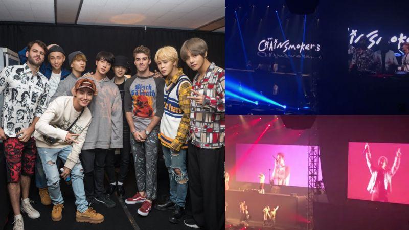 防弹少年团昨晚演唱会带来《Closer》合作舞台! 与The Chainsmokers后台合照