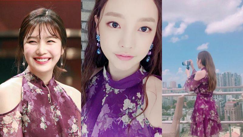 Sandara Park VS 具荷拉 VS Red Velvet Joy:露肩紫色碎花裙彰顯女性魅力