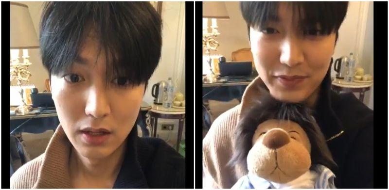 第一次開直播梳妝中的李敏鎬:Hello,我在巴黎!這是我弟!