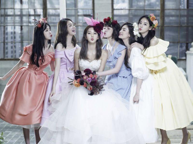 After school特级友情!成员合体与准新娘金正雅一同拍摄婚纱照
